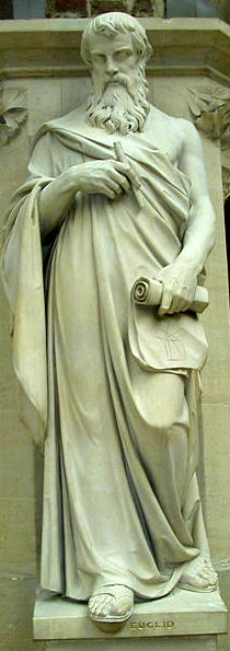 Statue of Euclid at the Oxford University Museum of Natural History by Mark A. Wilson (Source:  http://en.wikipedia.org/wiki/File:EuclidStatueOxford.jpg)